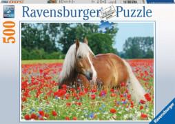 Ravensburger 14831 Puzzle Pferd im Mohnfeld 500 Teile