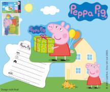 Peppa Pig Einladungskarten 6 Stück