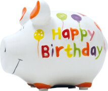 Sparschwein ''Happy Birthday'' - Kleinschwein von KCG - Höhe ca. 9 cm